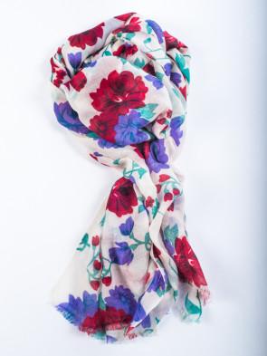 Bufanda GURASH - Estampado flores rojas
