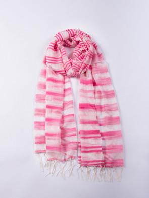 Chal MANASLU aire - Rayas en rosa y blanco