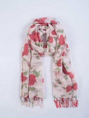 Chal PATAN - Estampado flores rojas