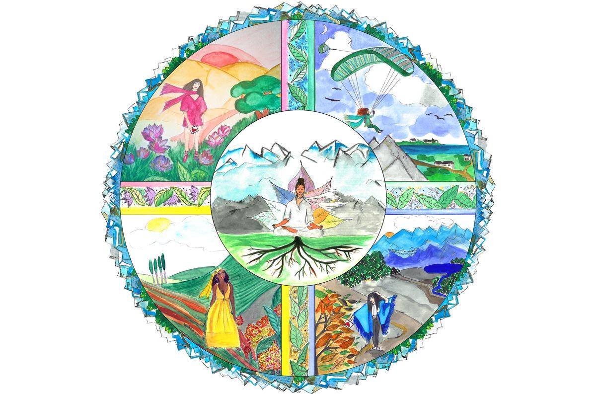 Ilustración mandala en acuarela by Anne Herman
